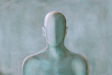 Illustration Of Anonymous Male Mannequin Portrait, Absence Abstract Identity