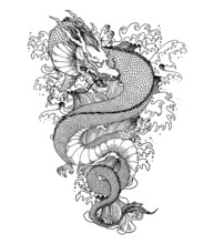 Chinese Dragon With Sea Waves Hand Drawn Vector Illustration. Tattoo Print. Hand Drawn Sketch Illustration For T-shirt Print, Fabric And Other Uses.