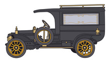 The Hand Draving Of A Vintage Black Funeral Car