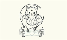 Pastel Goth Cat Coloring Page