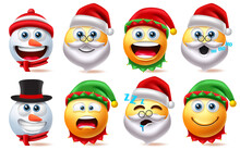 Christmas Smiley Characters Vector Set. Smileys Xmas Character Element Like Santa Claus, Snow Man And Elf Isolated In White Background For Cute Avatar Emoji Collection Design. Vector Illustration
