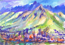 Abstract Coastal Town. Mountain Background. Watercolor Illustration.