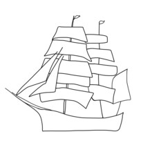 Silhouette Of Retro Ship On White Background, Outline Sketch