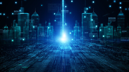 The smart city of Futuristic technology internet and big data 5g connection. Technology digital data network connection abstract background