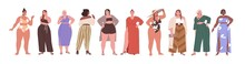 Set Of Happy Big Chubby Women With Pretty Plus-size Bodies. Diverse Plump Female Beauties With Fat Curvy Figures. Modern Obese And Sexy People. Flat Vector Illustration Isolated On White Background