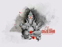Illustration Of Lord Ganpati For Ganesh Chaturthi Indian Festival, Background