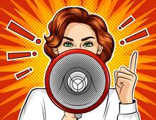 Color Vector Pop Art Comic Style Illustration Girl With Loudspeaker