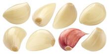 Peeled Garlic Cloves Isolated On White Background