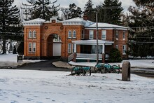 Evergreen Cemetery Gatehouse In Winter, Gettysburg, Pennsylvania, USA