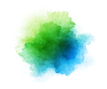 Abstract Blue And Green Watercolor On White Background. Hand Drawn Color Splashing Isolated On White Paper, Vector Illustration.