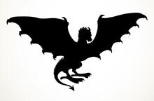 Winged Dragon. Vector Drawing Animal