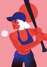 Frau Spielt Baseball