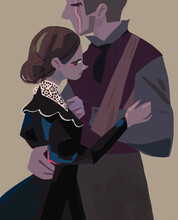 Hugs Of A Couple In Love, A Man And A Woman, An Emotional, Sensual Scene After A Long Separation. The Man Has A Scar On His Face And Does Not Have A Hand. Vintage, Retro Style