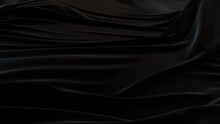 Black Cloth With Wrinkles And Folds. Luxury Surface Background.