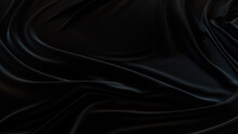 Black Fabric With Wrinkles And Folds. Smooth Surface Background.