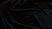 Black Fabric With Ripples And Folds. Wavy Surface Background.