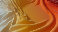 Orange And Yellow Textile Background With Ripples. Multicolored Smooth Surface Texture.