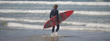 Surfista Com Fato De Neoprene A Entrar Dentro Do Mar Com Prancha De Surfe Debaixo Do Braço