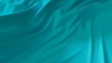 Turquoise Fabric With Wrinkles And Folds. Colorful Wavy Surface Wallpaper.