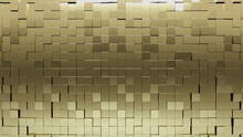 3D, Polished Wall Background With Tiles. Square, Tile Wallpaper With Gold, Luxurious Blocks. 3D Render