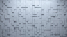 Polished, Square Wall Background With Tiles. White, Tile Wallpaper With Futuristic, 3D Blocks. 3D Render