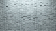 Futuristic, Rectangular Wall Background With Tiles. Concrete, Tile Wallpaper With 3D, Polished Blocks. 3D Render