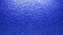 Blue, Polished Wall Background With Tiles. 3D, Tile Wallpaper With Herringbone, Futuristic Blocks. 3D Render