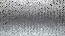 3D, Silver Wall Background With Tiles. Herringbone, Tile Wallpaper With Luxurious, Polished Blocks. 3D Render