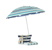 Open Blue Striped Beach Umbrella And Accessories On White Background