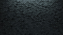 Fish Scale, Futuristic Wall Background With Tiles. Polished, Tile Wallpaper With 3D, Concrete Blocks. 3D Render