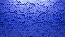 Blue, Fish Scale Wall Background With Tiles. Polished, Tile Wallpaper With 3D, Futuristic Blocks. 3D Render