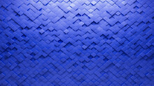 Futuristic, Arabesque Wall Background With Tiles. 3D, Tile Wallpaper With Polished, Blue Blocks. 3D Render