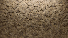 3D, Polished Wall Background With Tiles. Arabesque, Tile Wallpaper With Textured, Natural Stone Blocks. 3D Render