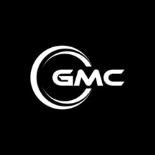 GMC Letter Logo Design With Black Background In Illustrator, Vector Logo Modern Alphabet Font Overlap Style. Calligraphy Designs For Logo, Poster, Invitation, Etc.