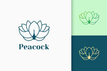 Peacock Flower Logo In Luxury And Line Style
