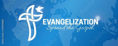 Fotografie, Obraz Evangelization Background Illustration Design