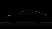 Honda Accord In Back Light Sedan Car. 3d Render In Black Background.