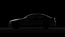 BMW Serie 3 In Back Light Sedan Car. 3d Render In Black Background.