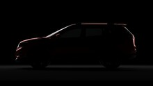 Nissan Xtrail In Back Light SUV Car. 3d Render In Black Background.