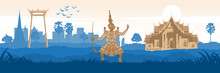 Symbol Of Thailand And Famous Landmarks In Silhouette Design,vector Illustration