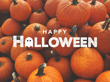 Happy Halloween Card With Fall Pumpkins Background