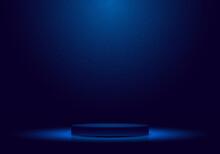 3D Realistic Dark Blue Podium With Lighting And Glitter Minimal Scene