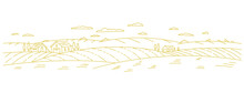 Countryside. Village Field. Rural Landscape. Contour Vector Line. Horizontal Banner Background. Hand Drawn Sketch. Open Paths. Editable Stroke.