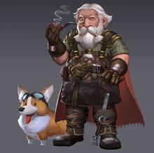 A Fantasy Painting Illustration Of The Old Man Blacksmith Dwarf And His Corgi Dog.