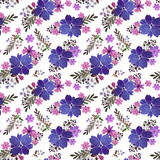 Romantic floral seamless pattern with flowers and leaf. Print for textile wallpaper endless. Hand-drawn watercolor elements. Beauty bouquets. Pink, blue. green. pink on white background.