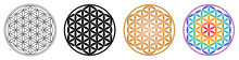 Flower Of Life Geometric Pattern Ornament From Overlapping Circles. Outline Black Golden And Rainbow Version