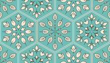 Turquoise Leaves Botanical Seamless Tile Pattern