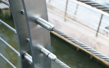 Stainless Steel Threaded Stud Joint With Wire Rope Cable Railing.