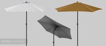Sun Protecting Parasol Mockup. Template. Illustration Isolated. Seashore Pool Hotel. 3D Realistic Design.
