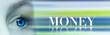 """canvas print picture - Vision - Auge vor Blauem unscharfem Hintergrund mit englischem Wort """"Money"""""""